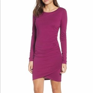❌SOLD❌ Leith Ruched Long Sleeve Dress Magenta